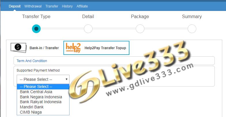 Cara Deposit Melalui Help2pay Gdlive333